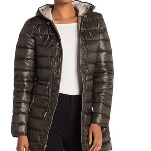 NWT kenneth Cole Packable Puffer jacket coat olive